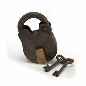 Serrure métallique antique 8x4cm avec 2 clés