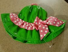 New Mud Pie Little Sprout Pink & Green Rain Flower Sun Hat with Ribbon 12-18 m