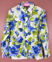 TB05855- JONES NEW YORK Womens Cotton Blouse 2-Way Long Sleeve Floral Sz PS
