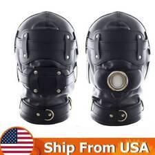 Lockable Leather Gimp Bandage Hood Sensory Deprivation Mouth Gag Blindfold  Mask