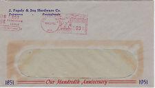 POSTAL HISTORY ADVERTISING METERED COM COVER 1951 J FEGELY HARDWARE POTTSTOWN #4