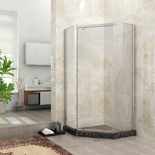"SUNNY SHOWER Neo-Angle Frameless Pivot Corner Shower Enclosure 36.6""x36.6""x71.8"""