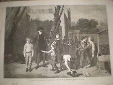 The fight interrupted by Mulready 1868 old print  Ref W1 school yard