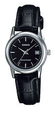 Casio LTP-V002L-1A Women's Standard  Analog Leather Band Black Dial Date Watch