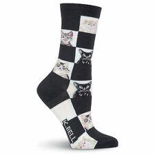 K.bell The Girls Black Quilting Girl Ladies Womens Crew Cotton Blend Socks New