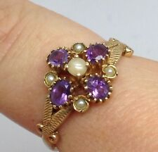 9ct gold amethyst Pearl Cluster ring UK size Q new, actual one. Victorian Style