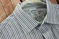 Brooks Brothers Mens Large Dress Shirt 16 34 Slim Fit White Stripe Non Iron