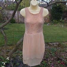 WOMENS SEXY CUTE LACE VINTAGE STY DRESS SIZE 10 PINK BOUTIQUE