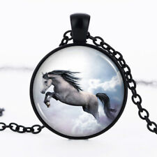 White Horse photo dome Black Cabochon Glass Necklace chain Pendant