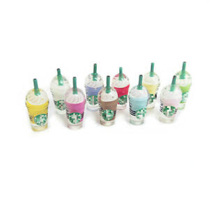 10Pcs Dollhouse Frappuccino Coffee Cups 1:6 Miniature Model Decor Mixed Color