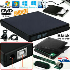 Black USB 2.0 to IDE Laptop CD DVD RW Rom External Caddy Case Enclosure Cover UK