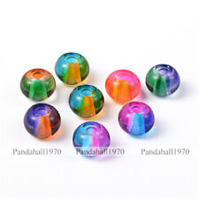 10 Pcs Large Hole Rondelle Spray Painted Glass European Beads Mixed Color 12x9mm