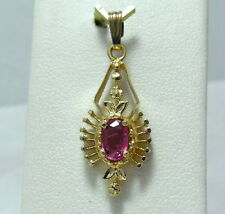 Art Nouveau 14k Gold .50ct Pink Natural Ruby Charm Pendant July Birthstone 2.2gr