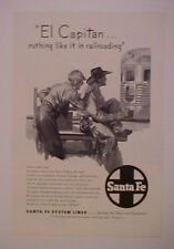 1947 SANTA FE RAILROAD~TRAIN EL CAPTAIN STREAMLINER AD