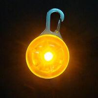 Pet Dog LED Flasher Blinker Circular Light Buckle Clip Safety Pendant Orange
