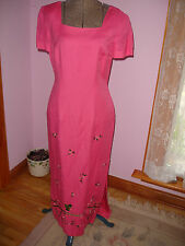 DONNA MORGAN LADIES FULL LENGTH FULLY LINED EMBROYDERED LINEN DRESS SZ 4 EUC fds