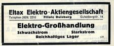 Eltax Elektro- A.G. Duisburg Elektro- Großhandlung  Historische Reklame 1925