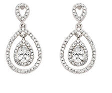 Halo Drop Earrings Sterling Silver Drops Pear Cluster Platinum Plated