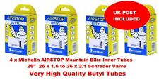 """MICHELIN AIRSTOP 4 x INNER TUBE TUBES 26"""" Schrader valve 26 x 1.6 to 26 x 2.1 C4"""