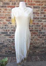 BEAUTIFUL LILLIE RUBIN HEAVY SEQUIN BEADED FRINGE GOLD & CREAM LOW/HIGH DRESS M