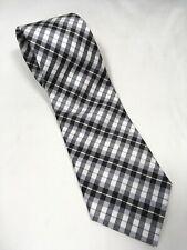Saddlebred Men's Necktie Black, Gray, White Gingham Checkered Stripes 100% Silk
