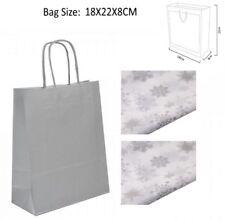 5 Silber Weihnachtsgeschenk Taschen - Partybeutel Kiste plus 2 Schneeflocke