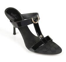 GUCCI Black Patent Leather Canvas T-Strap Open Toe Slides Sandals Heels Size 9 B
