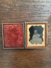 Baby Infant In Christening Gown Photo Antique Vtg Gutta Percha Union Case