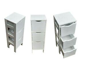 3 drawer white Storage Cupboard  Wooden Bathroom Unit Filing Cabinet Organiser
