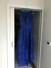 Royal Blue Lace Dress Ball Gown High Low Formal Party Evening Dress