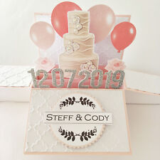 Handmade Name & Date personalized Wedding card, engagement card,