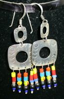 Vintage Beaded Dangle Earrings Phyllis WOODS Sterling Silver GREAT!