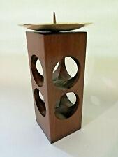 Mid Century 60er 70er Kerzenständer Halter Teak Geometrisch Modernist
