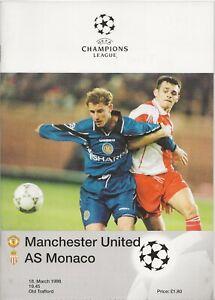 1997/98 Manchester United v Monaco UEFA Champions League Quarter Final Programme