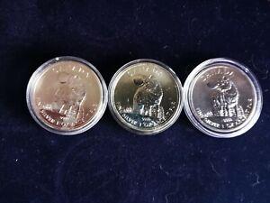 3 x 2011 Canada 1 oz .999 fine Silver Wildlife Series Wolf