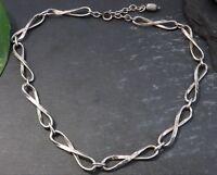 Edles 800 Silber Collier Kette Hammerschlag Meisterpunze Signiert Acht Designer