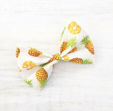 White with Yellow Pineapple print Pin Up hair bow clip
