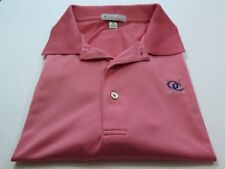 Peter Millar Summer Comfort Polyester Coral Pink Pullover Golf Polo Shirt XL