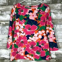 Women's Talbots Boatneck Blouse in Floral Pattern sz M 3/4 sleeve cute spring