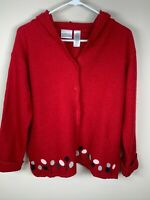 Villager Sport Red Felted or Boiled Wool Hooded Cardigan With Flowers Size PXL