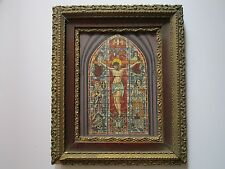 ANTIQUE STAIN GLASS WINDOW PAINTING STUDY FOR MURAL? ART DECO ERA ICONIC JESUS