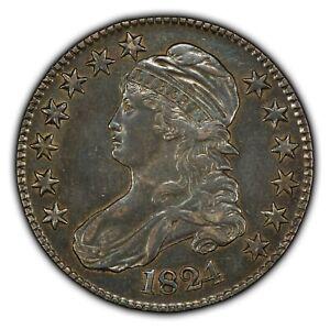 1824 50c Caped Bust Silver Half Dollar - AU Coin - SKU-B1034