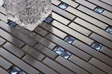 1 SQ M Black Stainless Steel And Blue Diamond Glass Brick Shape Mosaic Tile 0136