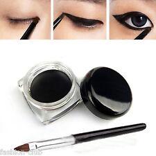 1Pc Waterproof Eye Liner Eyeliner Gel Makeup Cosmetic + 1pc Black Makeup Brushes