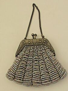 Antique Beaded Doll Purse Silver Plate Frame