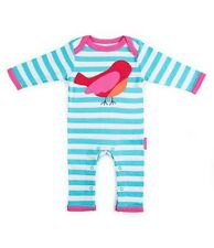 Toby Tiger 100% Organic Cotton. All In One. Bird. Blue. 0-3 months