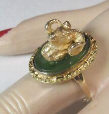 3D Figural Sculpture BIGHORN SHEEP Ram 10K Gold NUGGET Jade Alaska Wildlife Ring
