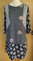 White Stuff Dress 12 Tunic Navy Blue Floral Casual Smart Modest Patchwork Work