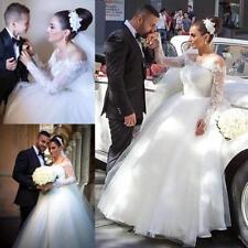 Portrait/Off-Shoulder Plus Size Long Sleeve Wedding Dresses