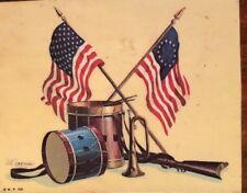 5x7 Vintage Usa Flag Trumpet Drum Rifle Patriotic Art Wooden Resin Plaque 4th